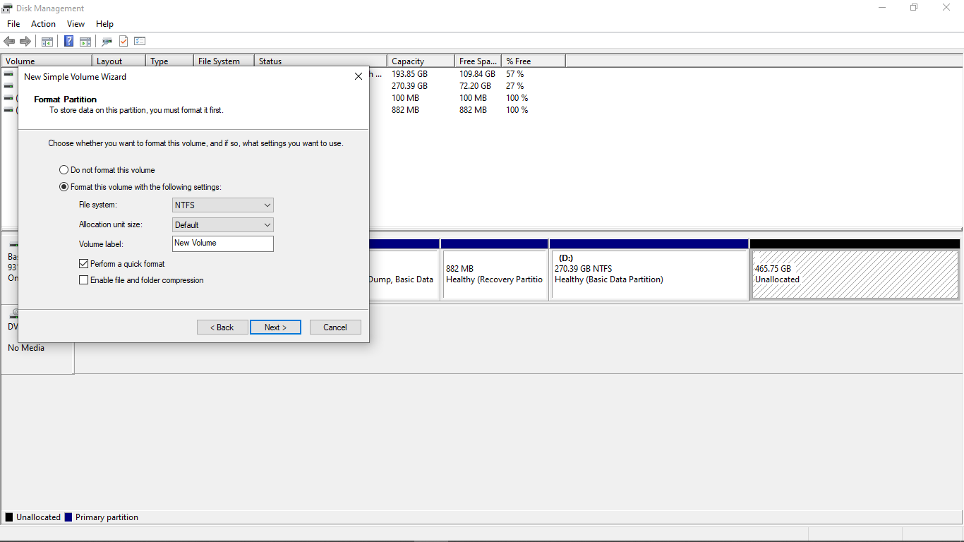 Format this partition with the following settings