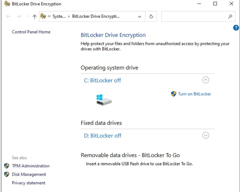 TPM Administration on BitLocker
