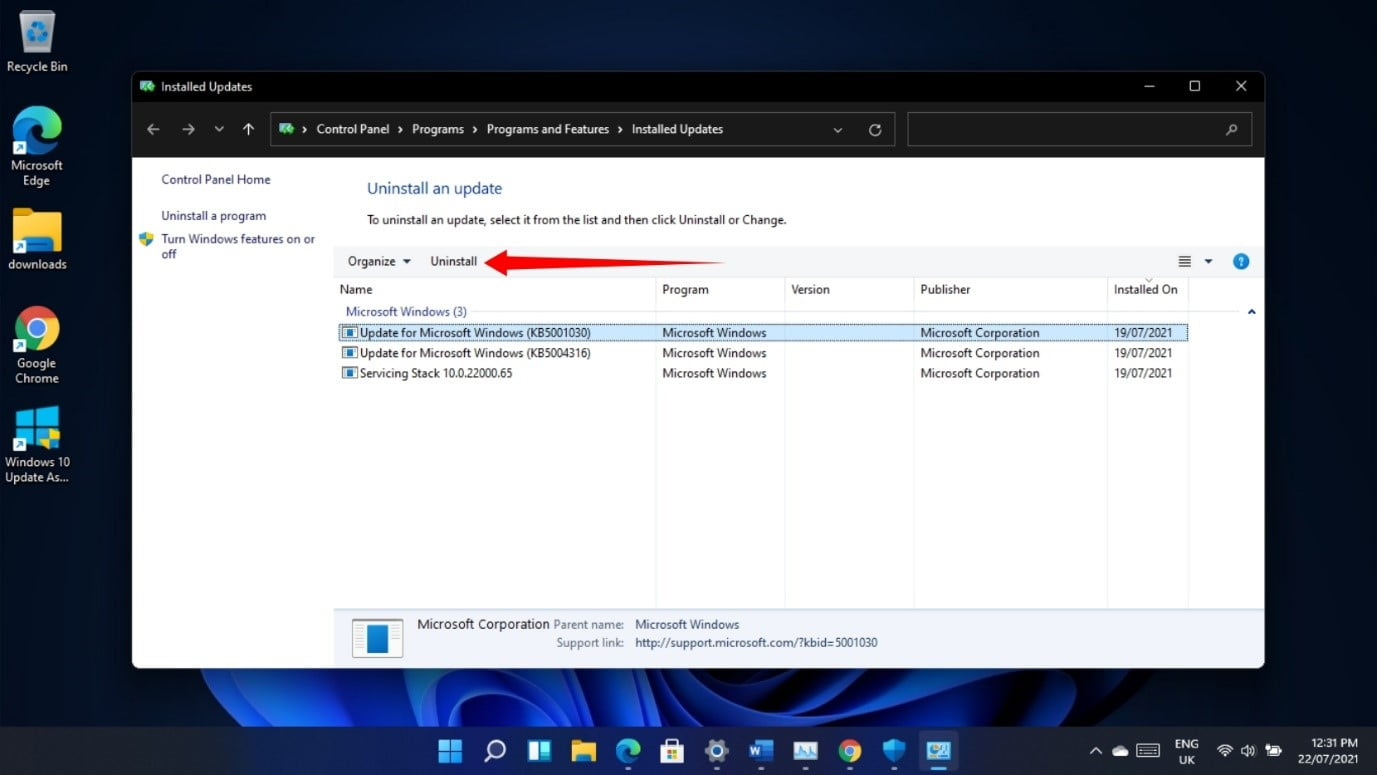 How to uninstall certain updates and patches in Windows 11?