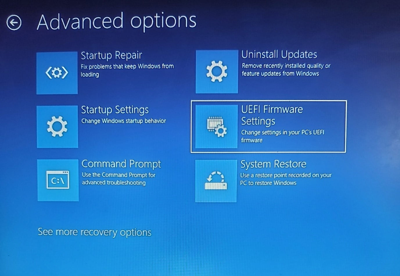 Setup Advanced Options on Windows 11