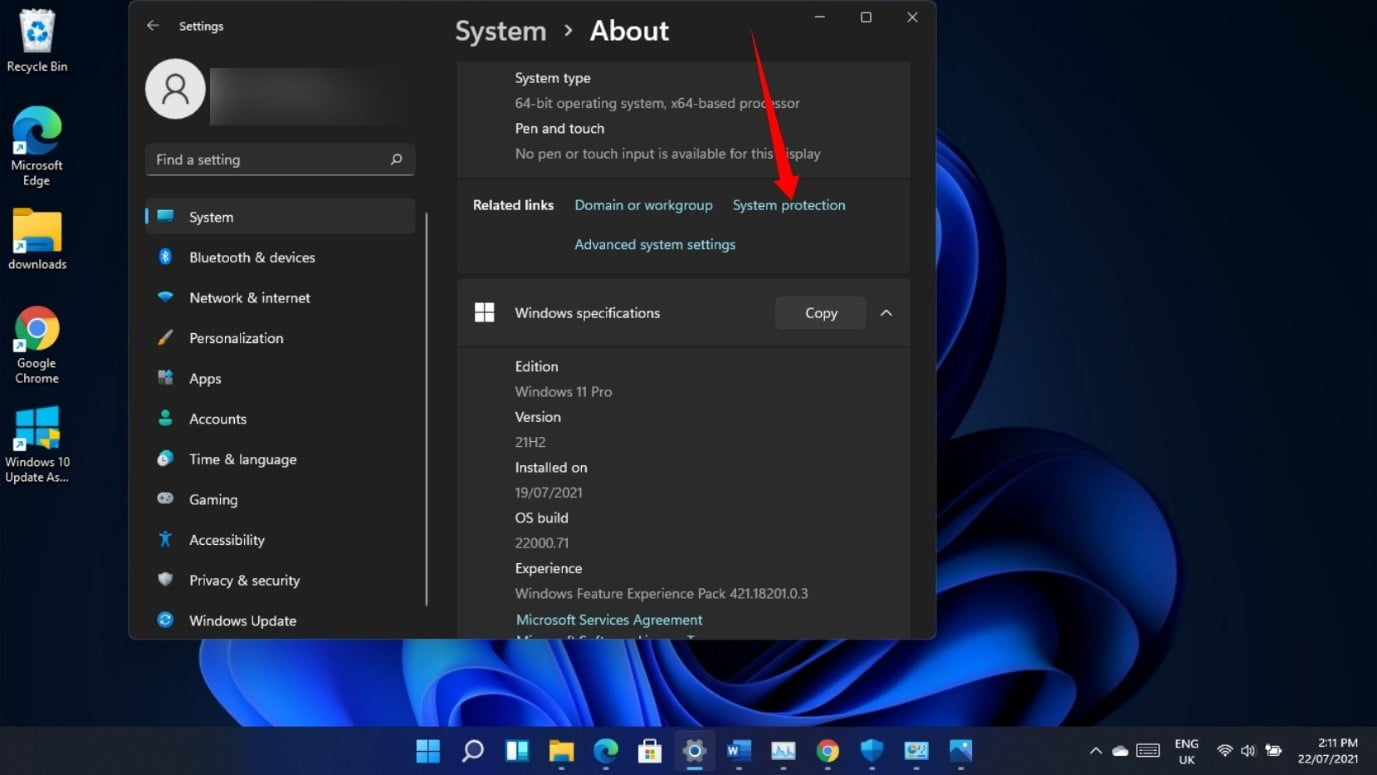 Windows 11 system protection