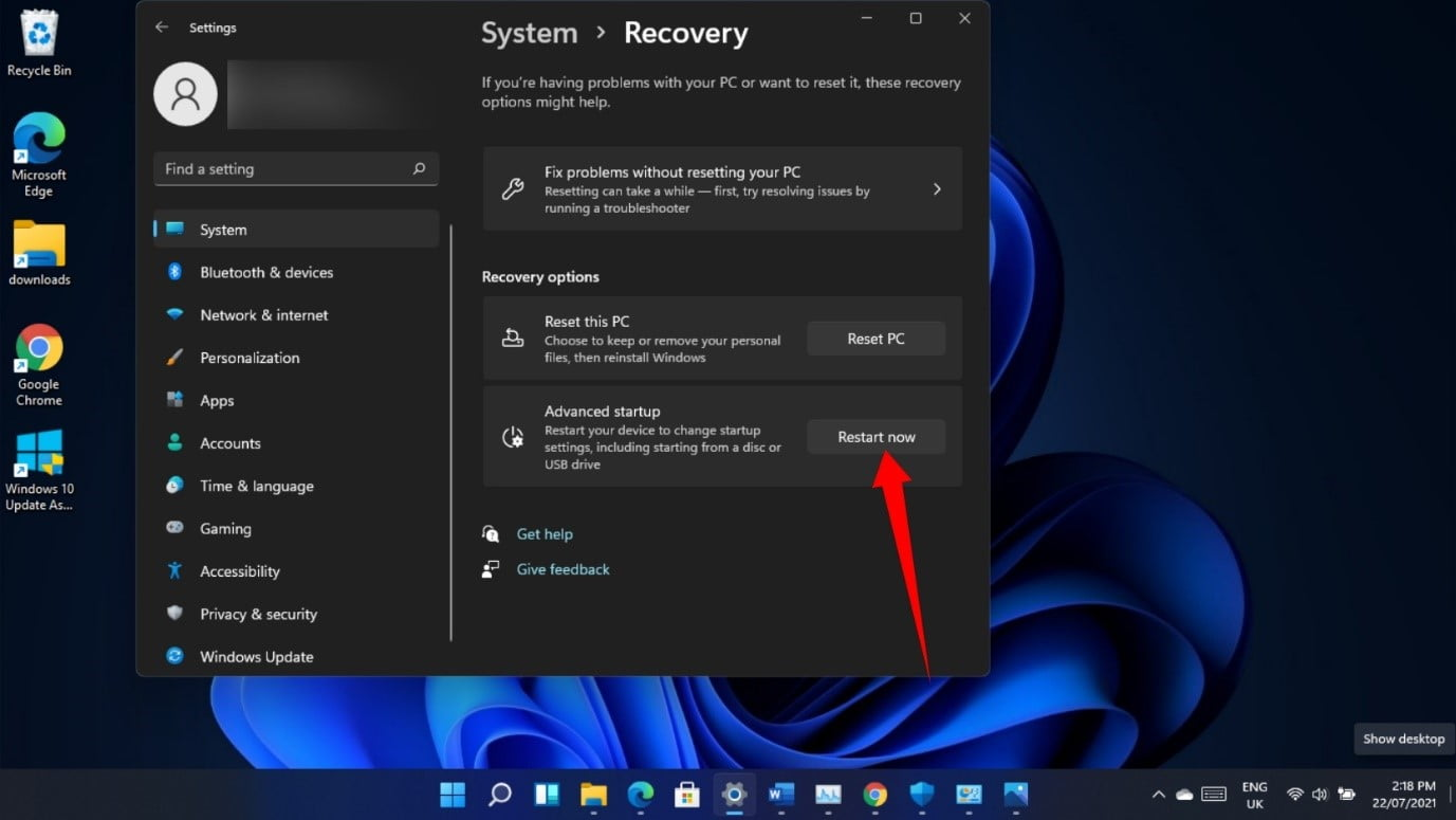 Windows 11 system recovery options