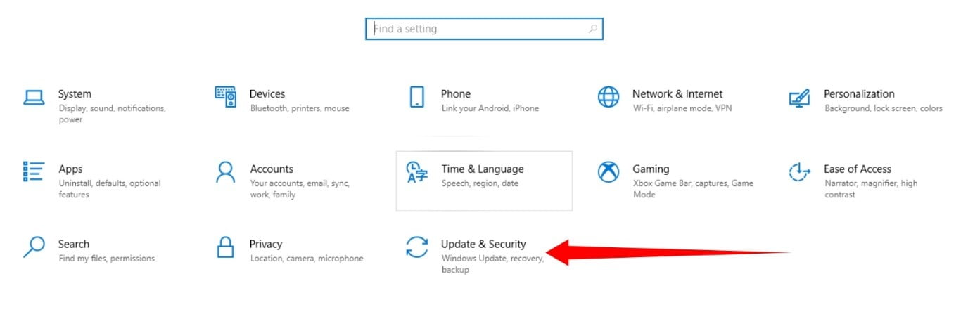Update and Security page on Windows 11