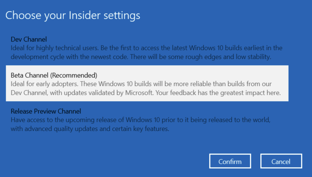 Choose your Insider settings (Beta Channel)