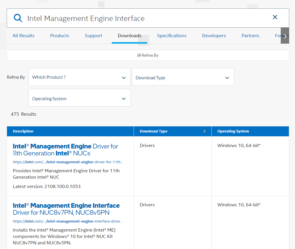Download Intel Management Engine drivers