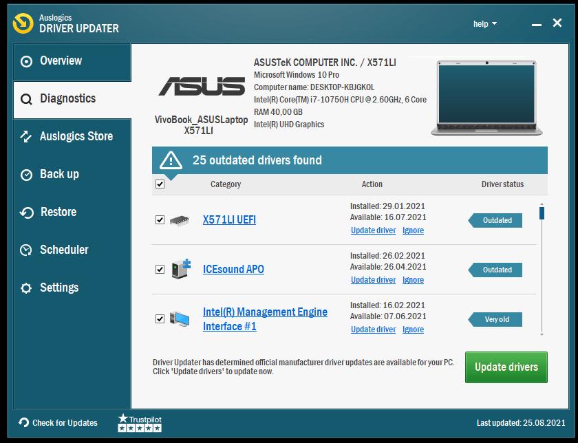 Click Update Drivers in Auslogics Driver Updater