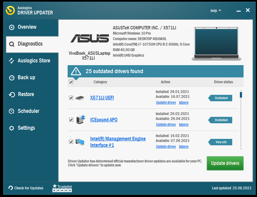 The Auslogics Driver Updater interface