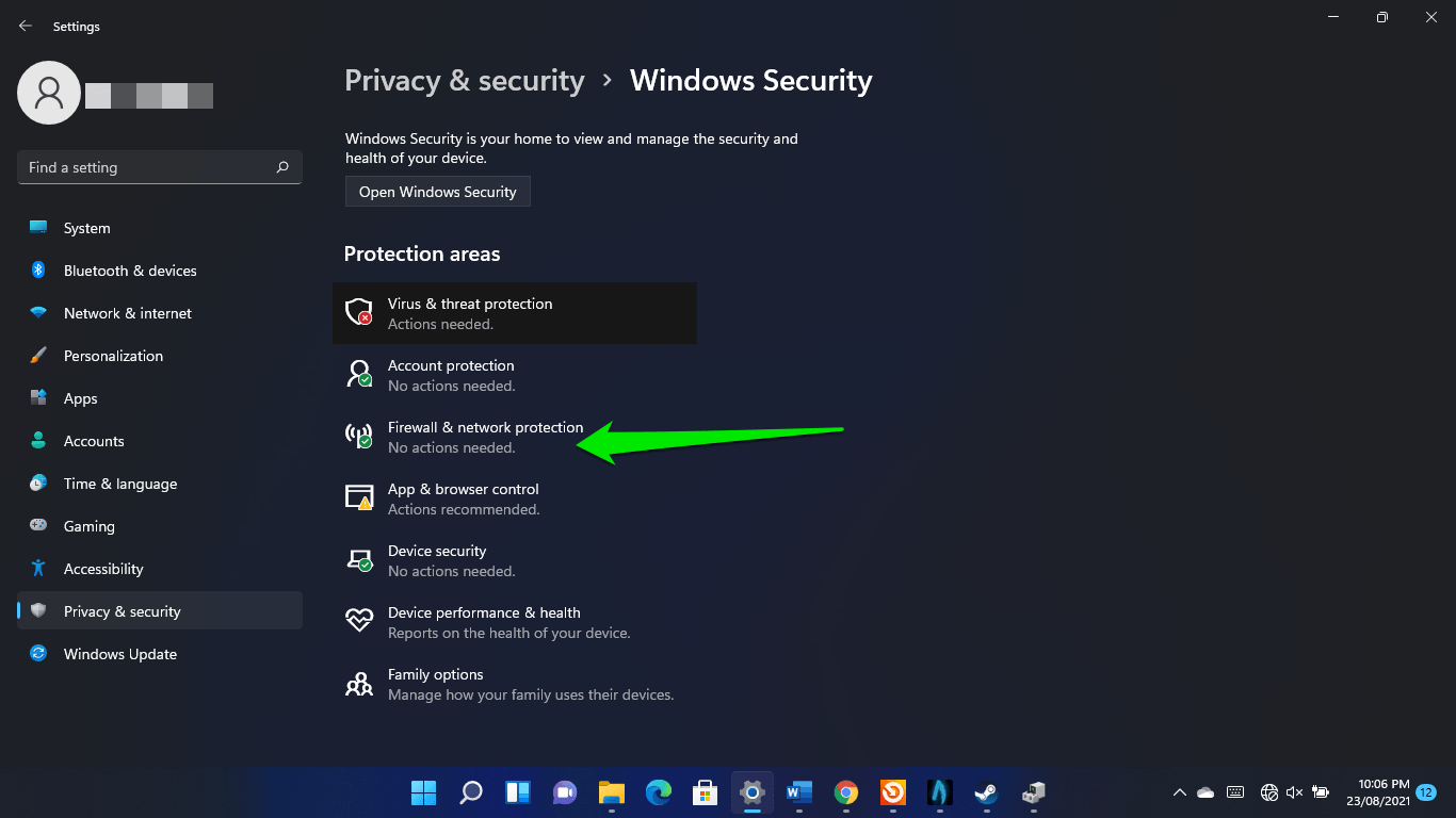 Check Firewall & Network Protection on Windows 11
