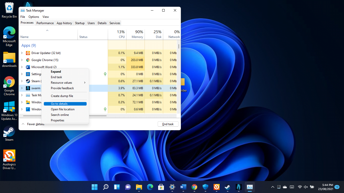 Right-click the game's process and choose Go to Details in the Task Manager's menu