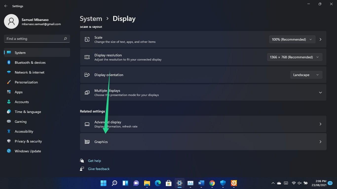 Modify Graphics options using Related Settings
