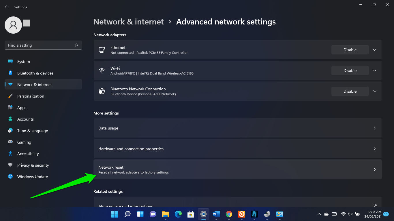 How to reset a network on Windows 11