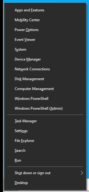 Press Win+X to access the Power User menu