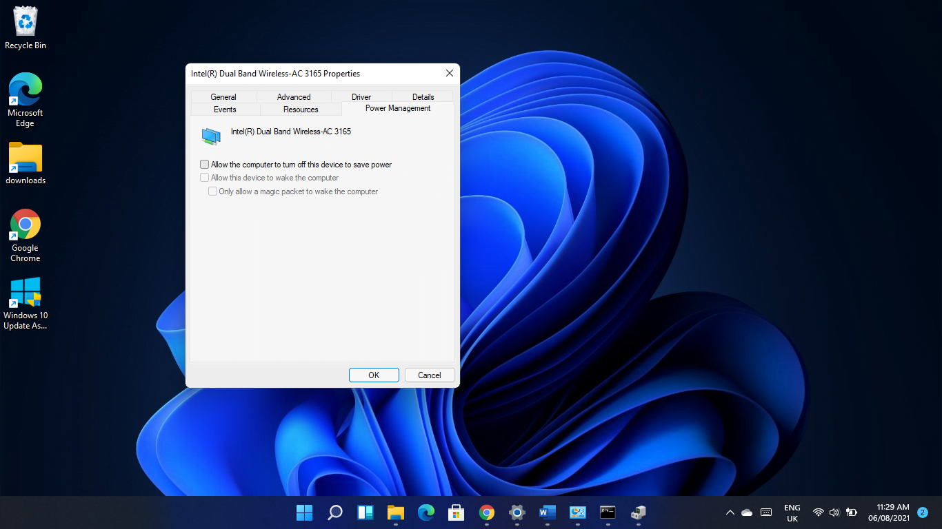 Prevent your operating system from shutting down the network adapter