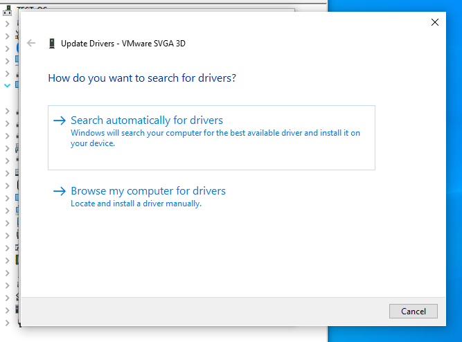 Search for new drivers automatically