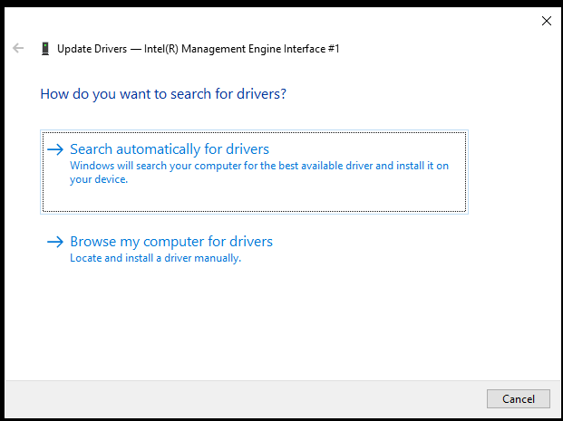Search for Intel Management drivers automatically