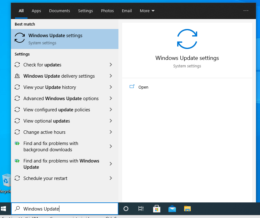 Search for the Windows Update tool