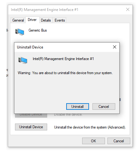Uninstall Intel Management Engine Interface