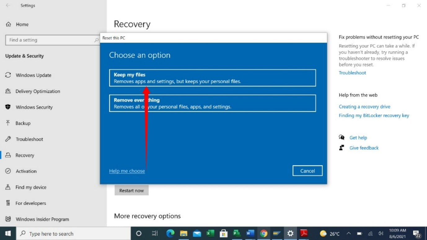 Use Keep My Files option when resetting a PC