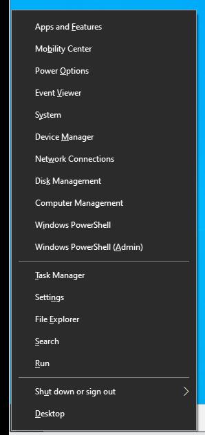 Press Win+X combo to open Power User menu