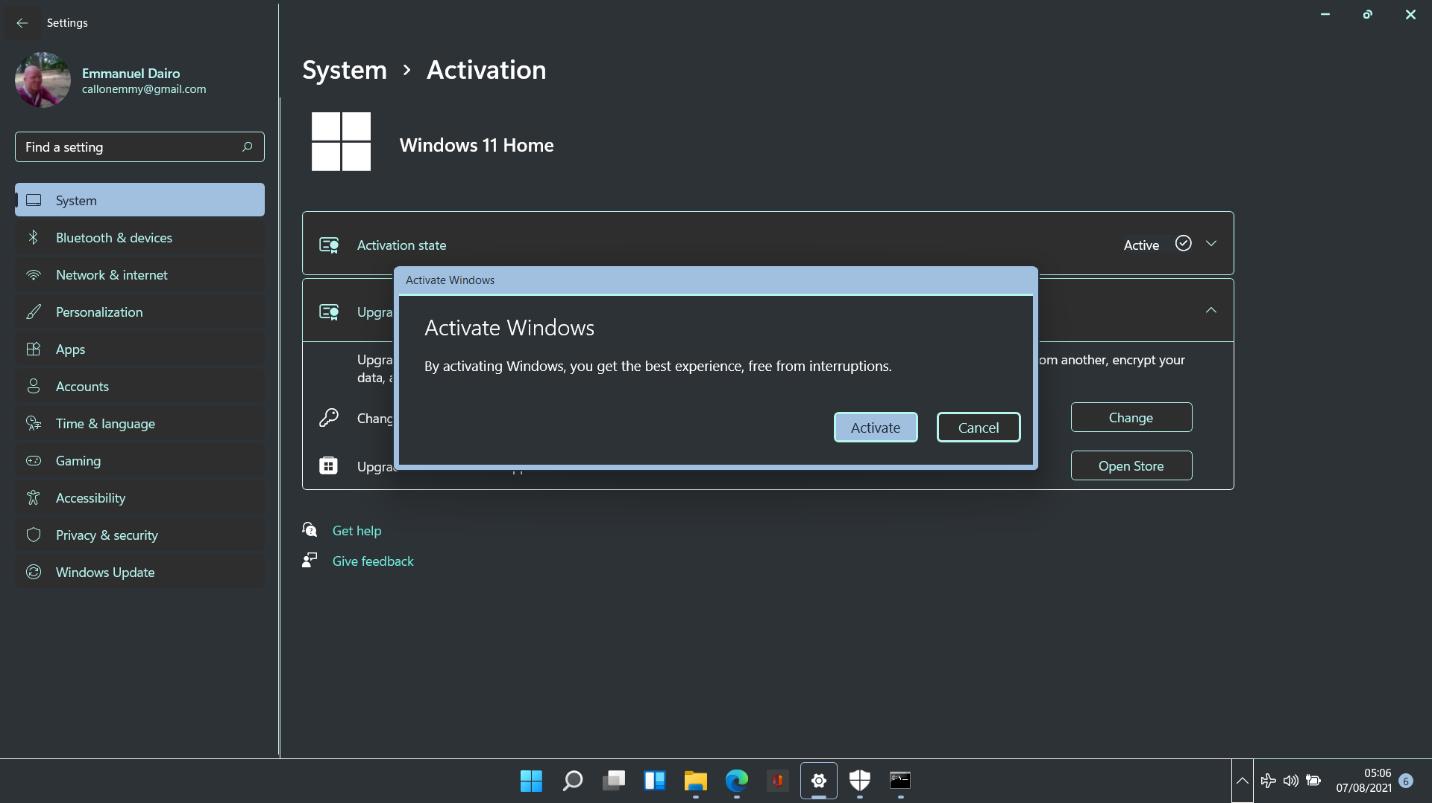 Windows 11 activation process