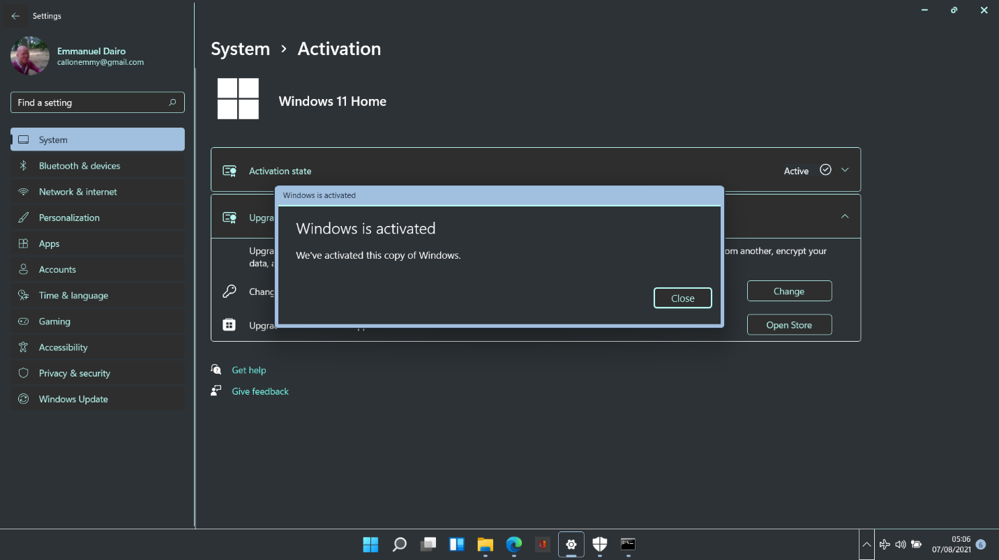 Now Windows 11 is activated