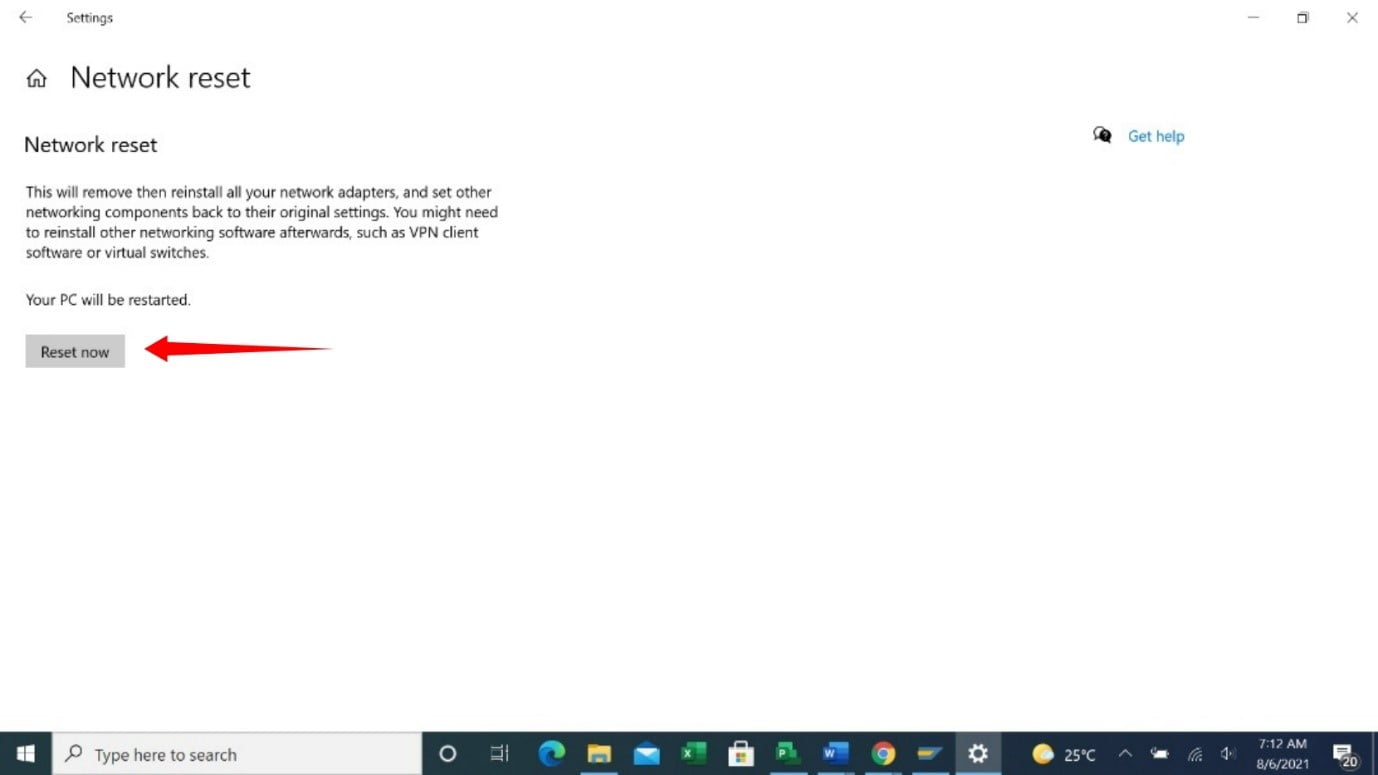 How to reset a network on Windows?