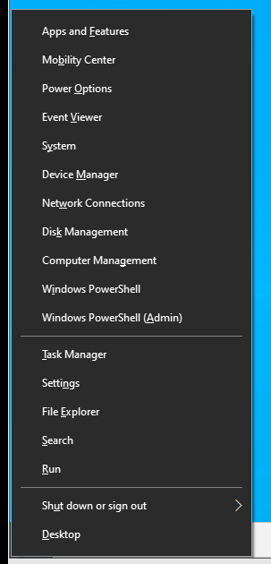 Open the Windows Power User menu and click Settings