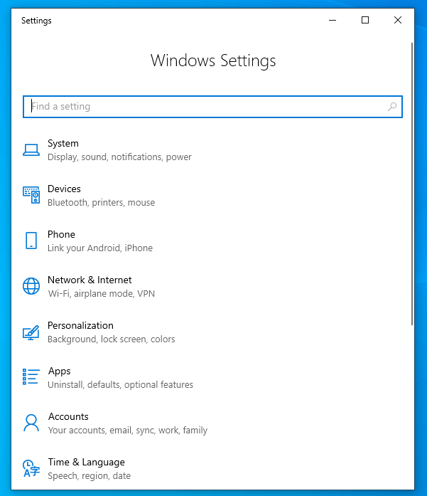 Open the Windows Settings Panel
