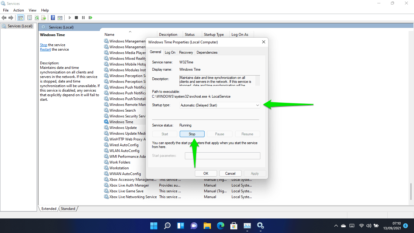 After the window shows up, click on Stop if the service is running and set the startup type to Automati