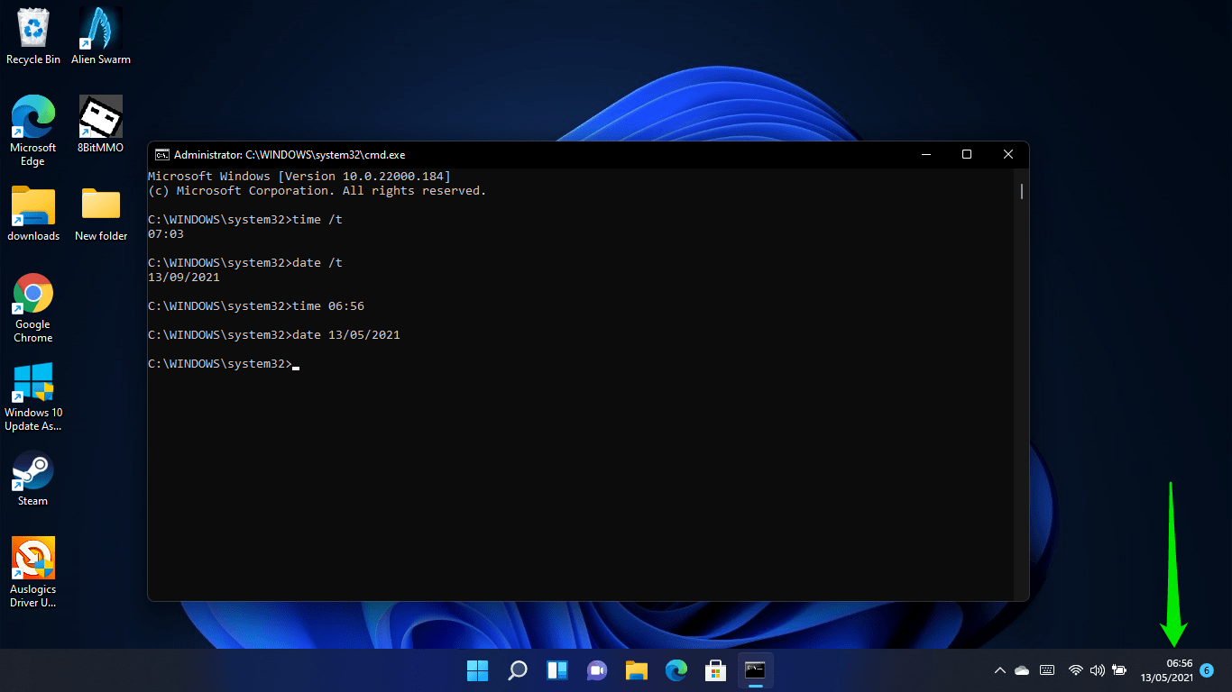 How to change the date and time using the Command Prompt in Windows 11