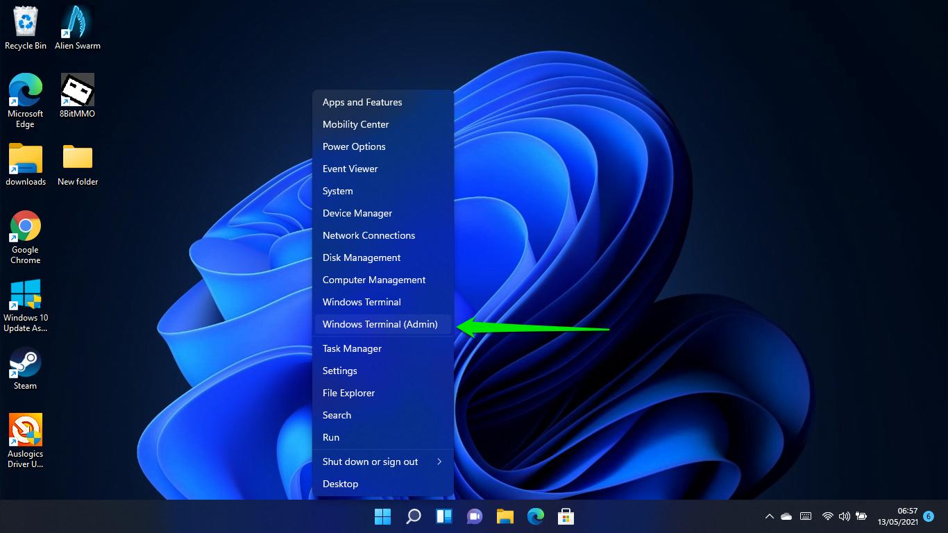 Select Windows Terminal (Admin) to adjust date settings in Windows 11